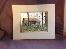 ORIGINAL SIGNED ACRYLIC PAINTING GAEL WALLACE COLORADO ARTIST CABIN IN WOODS