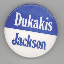 1988 MICHAEL MIKE DUKAKIS Jesse Jackson Political PIN Button PINBACK Democrat
