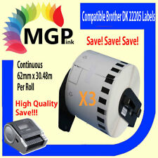 3 Compatible Brother for DK22205 Continuous Roll-62mm x 30.45m QL-700 QL1050