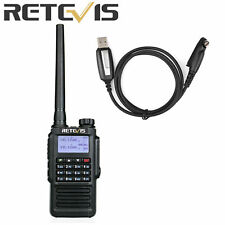 Retevis RT87 Walkie Talkie CTCSS DCS PTT VOX VHF/UHF FM DTMF Two Way Radio+Cable