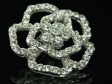 2 pc Austrian clear crystal silver scarf white rose flower floral Brooch pin D10
