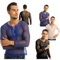 Men Sheer Mesh Underwear Muscle T-shirt Tops Sports Tank Vest Blouse Undershirt