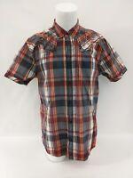 ROAR Signature Red Orange Plaid Short Sleeve Stitch Button Shirt Mens Medium