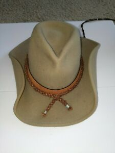 Yellow Tan Wool Felt Hat Western Hat Size Medium Shapeable Wire Brim Vintage Cowgirl Hat 10 Gallon Cowboy Hat Crochet Knit Hat Band