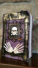 """8"""" RAZ Skeleton Skull HALLOWEEN PROP Table top WITCHES SPELL BOOK Curses"""