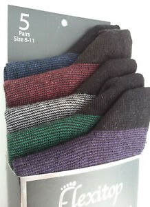 Flexitop, Mens Cotton Mix, Soft Hold Top, Socks, 5 Pair Pack, UK Size 6 - 11 New