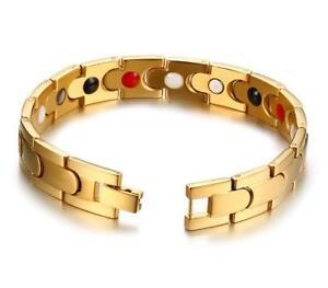 18k Gold Stainless Steel health magnet bracelet 12mm 8.66'' Link Chain Bracelet