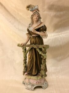 """ROYAL DUX BOHEMIA Figurine #311 ~Lady at a Fence~ 10.5"""" Repaired breakage/chips"""