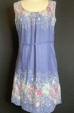 Mantaray Ladies Blue Cotton Linen  Summer Dress Size 12 ( J4)