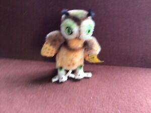 Vintage Steiff Stuffed Animal: Wittie the Owl, Mohair Bird Toy '60s Tag #2620/10