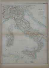 Original 1890 Map ITALY Rome Florence Naples Sicily Genoa King Umberto I Malta
