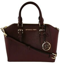 Michael Kors Ciara Satchel Bag Merlot Red Saffiano Leather Medium Handbag