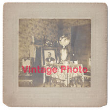 Antique Photo of Artistic Victorian Parlor Set for Tea with a Framed Portrait