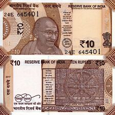 INDIA 10 Rupees Banknote World Paper Money UNC Currency Pick pNew 2017 Gandhi