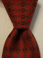 HERMES 916 HA Men's 100% Silk Necktie FRANCE Luxury Geometric Burgundy/Green EUC