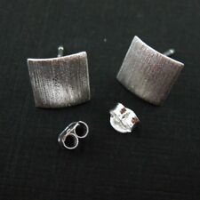 925 Sterling Silver Earrings Findings, Textured Tiny Square- 10mm-1 pair