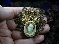 CA1-35 RARE African American LADY cherubs Ivory resin CAMEO Pin Pendant Brass