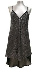 NEW, ZARA B&W COLLECTION SILVER SEQUENCE DRESS, M