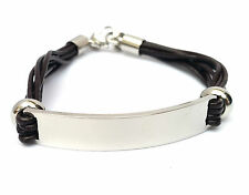 Mens Leather Identity Engraved Personalised Bracelet With Gift Box