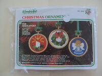 Vintage Wonder Art Needlepoint Christmas Ornament Kit NIP Candle Wreath Angel