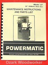 "POWERMATIC 87 20"" Band Saw Instruction & Part Manual 0521"