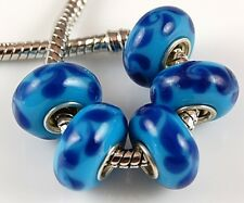 5pcs Aqua Cobalt Blue Big Hole Lampwork Glass Beads Fit European Charm Bracelet