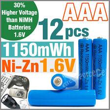 12 pcs 1150mWh AAA NiZn 1.6V Volt Rechargeable Battery 3A LR03 HR03 Blue