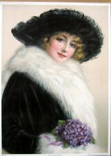 art print~OUT FOR THE EVENING~Victorian Lady in Fur Feather hat vtg re 10.5x14.5