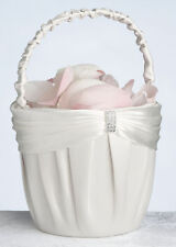 wedding flower girl basket cream color