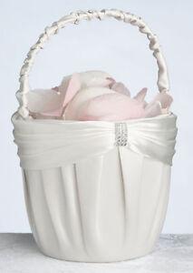 wedding flower girl basket cream color