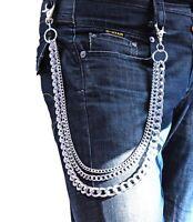 Hosenkette Portemonnaie Schlüsselkette Biker Gothic Punk Panzerkette 3 Silber