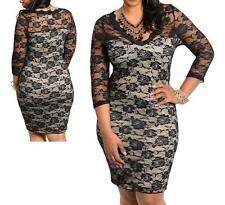 Plus Size 1X 12-14 Chic Black/Tan Lace w Sleeve Cocktail Evening Club Dress NEW