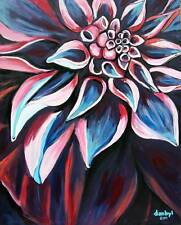 MODERN FLOWER Original Art PAINTING DAN BYL Collector Investment Canvas XXL