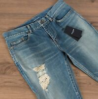 SAINT LAURENT PARIS 890$ Distressed Skinny Jeans in Dirty Sandy Blue