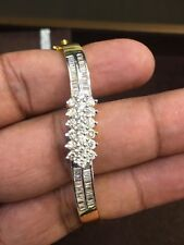 Pave 1.75 Cts Round Baguette Cut Diamonds Hinged Bangle Bracelet In 18Carat Gold