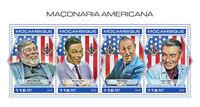 Mozambique Freemasons Stamps 2018 MNH Walt Disney Clark Gable Wozniak 4v M/S
