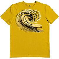 $28 Quiksilver Waterman Men's Still Waters Short Sleeve Tee Yellow Size Large