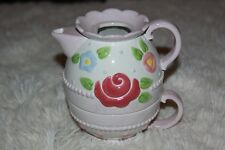Mary Engelbreit Ceramic Light Purple Teapot and Cup with Roses & Flowers 2002