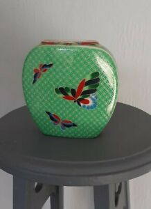 Vintage Takahashi Cloisonne Butterfly Hand Decorated Green Vase Japan