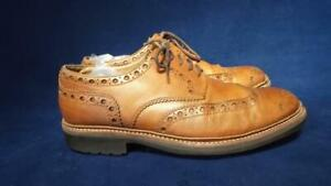 GRENSON UK 9 G GIBSON STYLE TAN LEATHER TRIPLE SOLE BROGUES