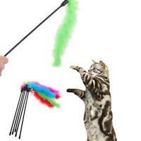 UN3F 5pcs Cat Kitten Pet Teaser Turkey Feather Interactive Stick Toy Wire Chaser