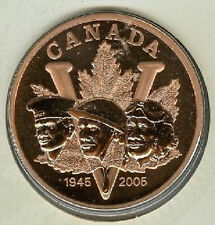 1945-2005 VE Day 26.4 grams Bronze Medallion 05 Canada/Canadian BU Coin RCM