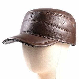 Winter Men's Genuine Leather Warm Ear Flap Baseball Cap Trucker Army Caps/Hats