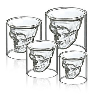 Skull Head Shot Glass Cup Wine Beer Glass Mug Crystal Whisky Vodka Cup 1/4Pcs E