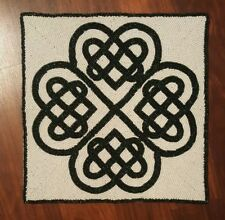 """New listing Celtic Knot Beaded Placemat Charger St Patricks Day 14"""" Green White Irish New"""