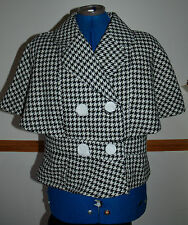 New 10-12 Hounds Tooth Check Monochrome Cape Sleeve Double Breasted Jacket Coat