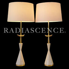 STIFFEL ATOMIC SPACE AGE MODERN BRASS PORCELAIN TABLE LAMPS 1950 TOMMI PARZINGER