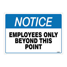 """(2 Pack) Employees Only Sign, Self Adhesive 7X10"""" 4 Mil Vinyl Decal, Indoor"""