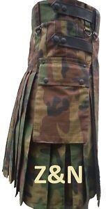 Men Camouflage Tactical Combat Army Utility Kilt Leather Straps, Adjustable