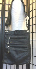 Avorio BLACK LEATHER SATCHEL ZIPPER TOTE HANDBAG Clutch MADE IN ITALY